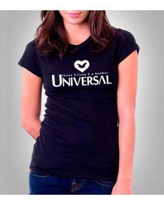 Camiseta preta feminina Universal frente