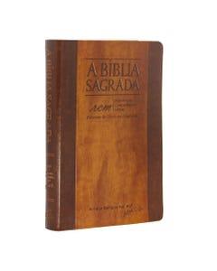 Bíblia Sagrada com capa marrom texturizada frente