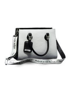 Bolsa branca com detalhes pretos Godllywood com faixa transversal