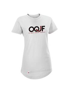 Camiseta OQJF Feminina com Paetê Dupla Face - Branca