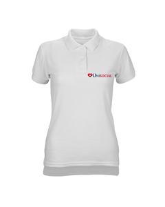 Camisa polo feminina branca Unisocial frente