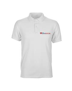 Camisa polo masculina branca Unisocial frente