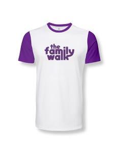Camisa Family Walk branca com manga roxa unissex grupo Força Teen Universal - FTU